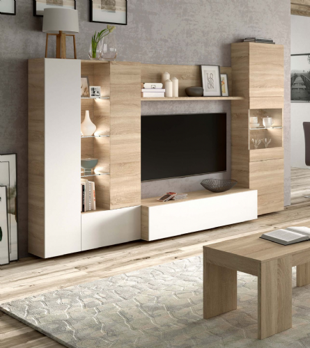 Amora White and Oak Wall Entertainment Unit 016642F - 2916